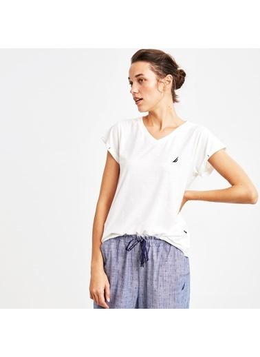 Nautica W101PJTK.BEY Nautıca Kadın Beyaz Pijama Takımı Beyaz